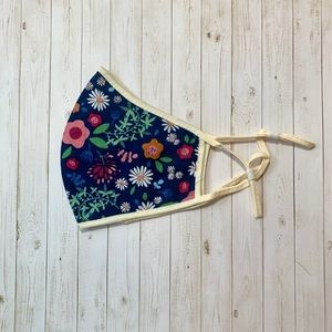 Navy Blue Floral Cloth Face Mask (NEW)
